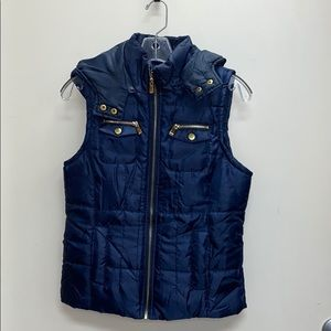 BONGO Navy Blue puffy Vest with hood small